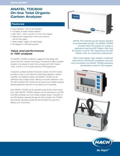 Anatel TOC600 On-line Total Organic Carbon Analyzer
