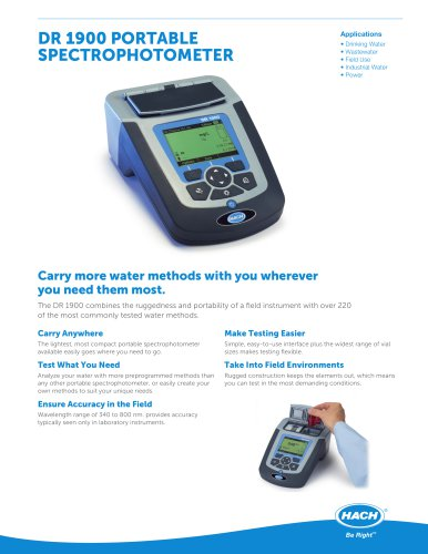 DR 1900 PORTABLE SPECTROPHOTOMETER