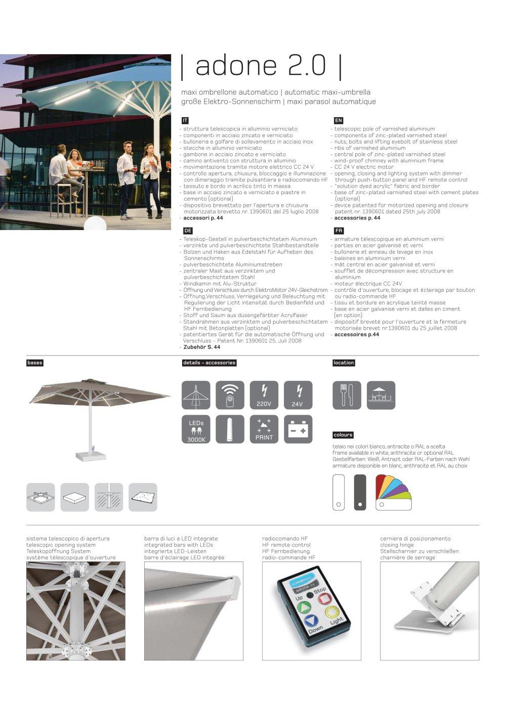 Adone 2.0 Technisches Arbeitsblatt - Ombrellificio Crema S.a.s - PDF ...