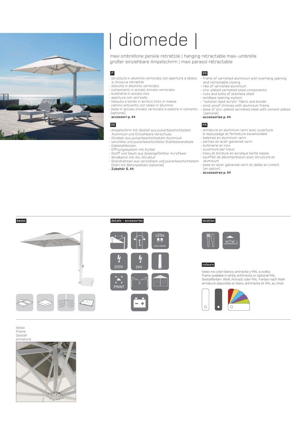 Diomede Technisches Arbeitsblatt - Ombrellificio Crema S.a.s - PDF ...