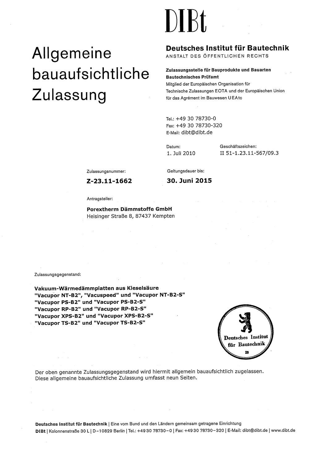 Abz Allgemeine Bauaufsichtliche Zulassung Z 23 11 1662 Porextherm