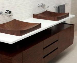 Aufsatzwaschbecken / rechteckig / Holz / modern