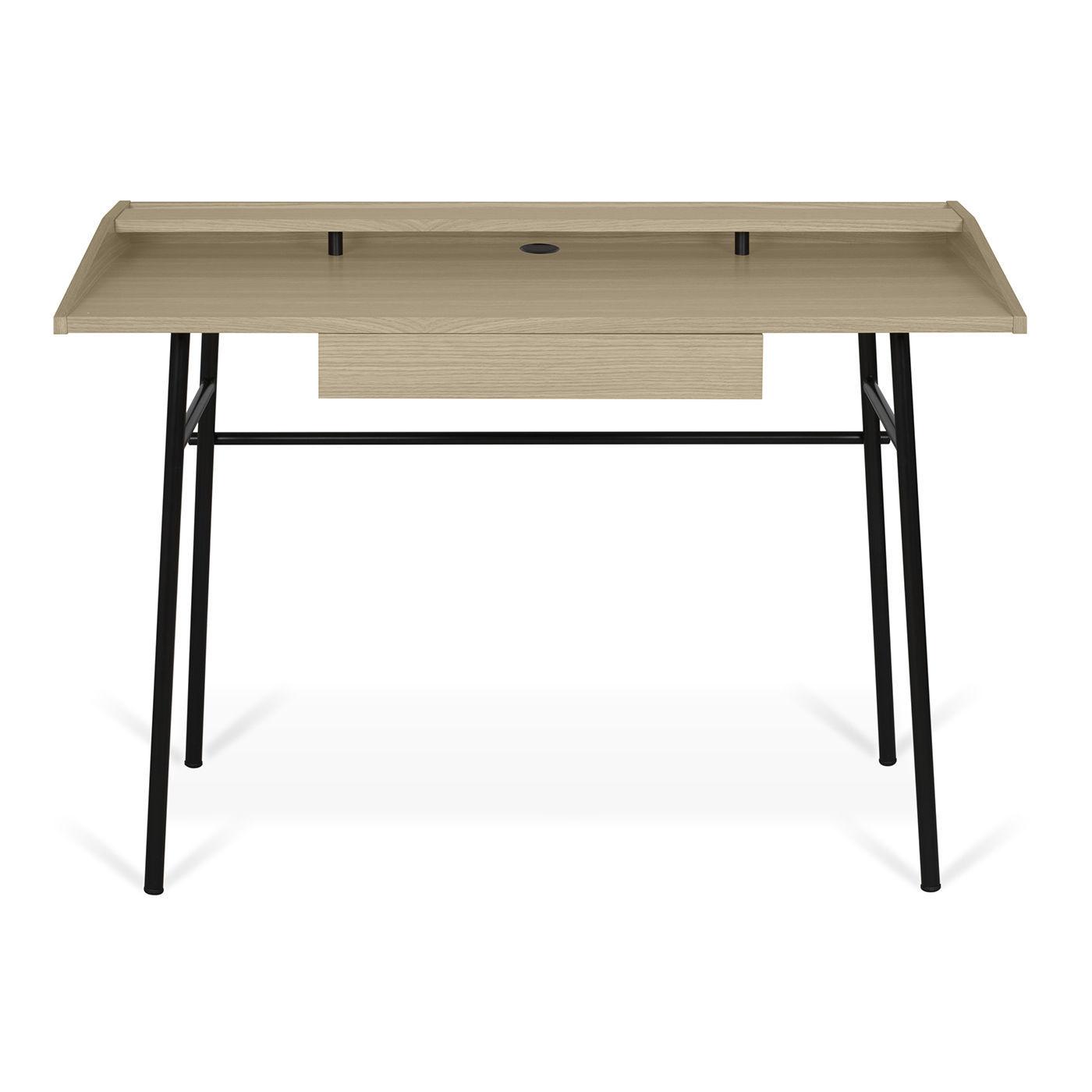 Schreibtisch Aus Eiche Holzfurnier Lackiertes Holz Metall
