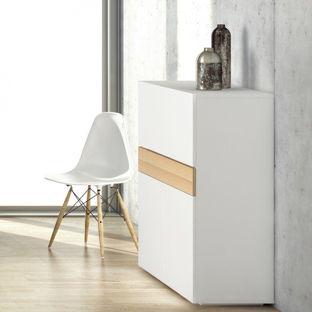 moderner Sekretär / aus Eiche / lackiertes Holz / Holzfurnier