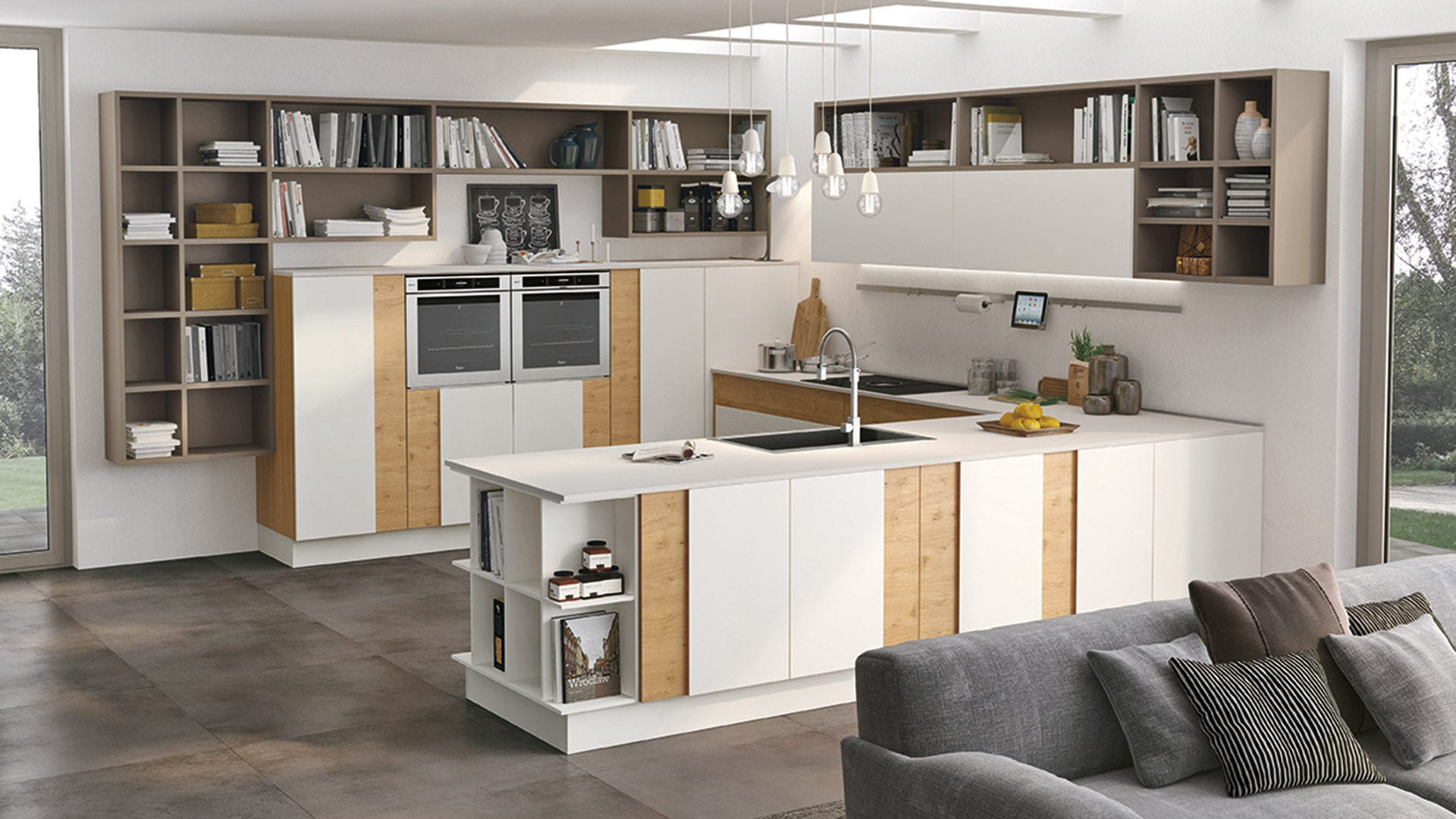 Moderne Küche / Holz / lackiert / ohne Griff CREATIVA CUCINE LUBE