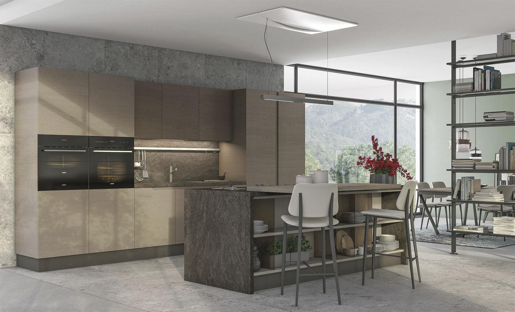 Moderne Küche / Holz / Kochinsel / lackiert LUNA CUCINE LUBE