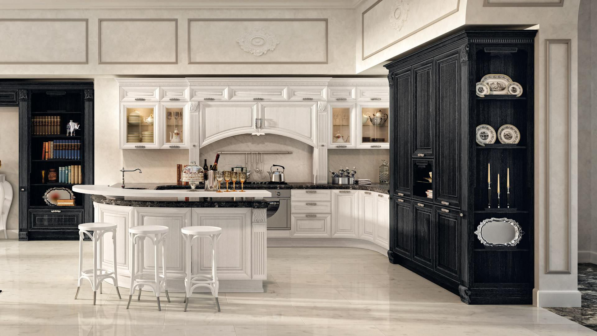 Klassische Küche / Holzfurnier / mit Griffen - PANTHEON ...