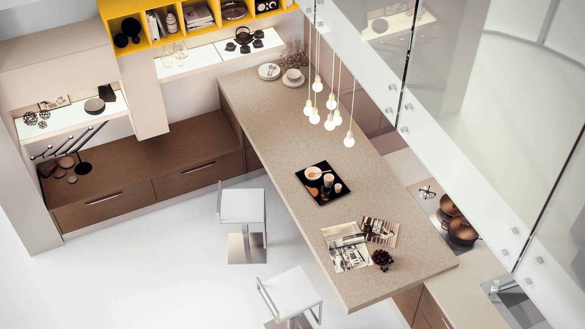 Moderne Küche / Holzfurnier / Kochinsel / lackiert - ADELE ...