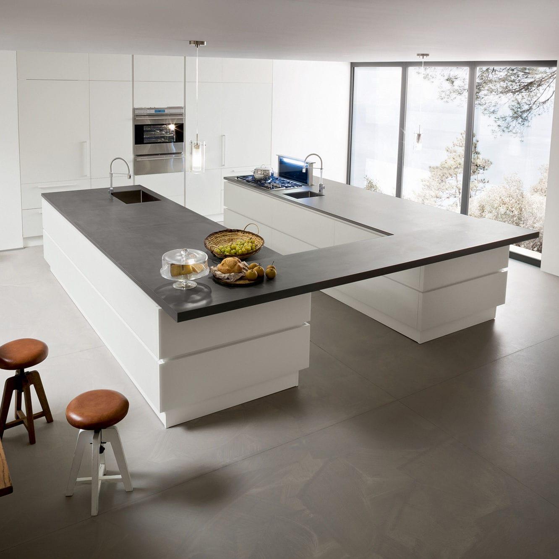 Moderne Küche / Glas / Edelstahl / Kochinsel - NEW NICE 2.0 ...