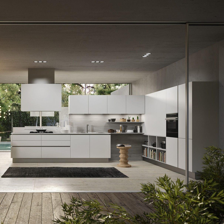 Moderne Küche / aus Eiche / lackiertes Holz / ohne Griff ...