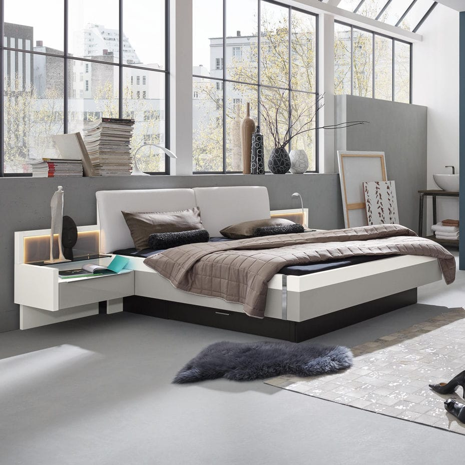 Doppelbett - INDIO - Musterring - modern / Polster / Stoff
