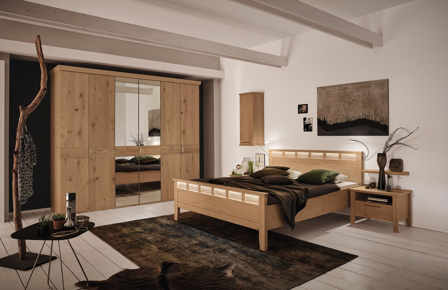 Doppelbett - MADLEEN - Musterring - modern / aus Eiche