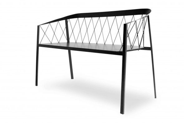 Tremendous Gartenbank Modern Stahl Mit Ruckenlehne Bralicious Painted Fabric Chair Ideas Braliciousco