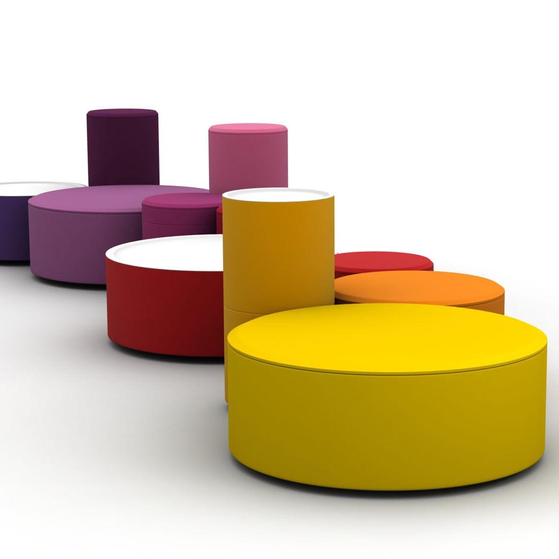 Sitzpuff / Pop Design / Stoff / rund / modulierbar ...