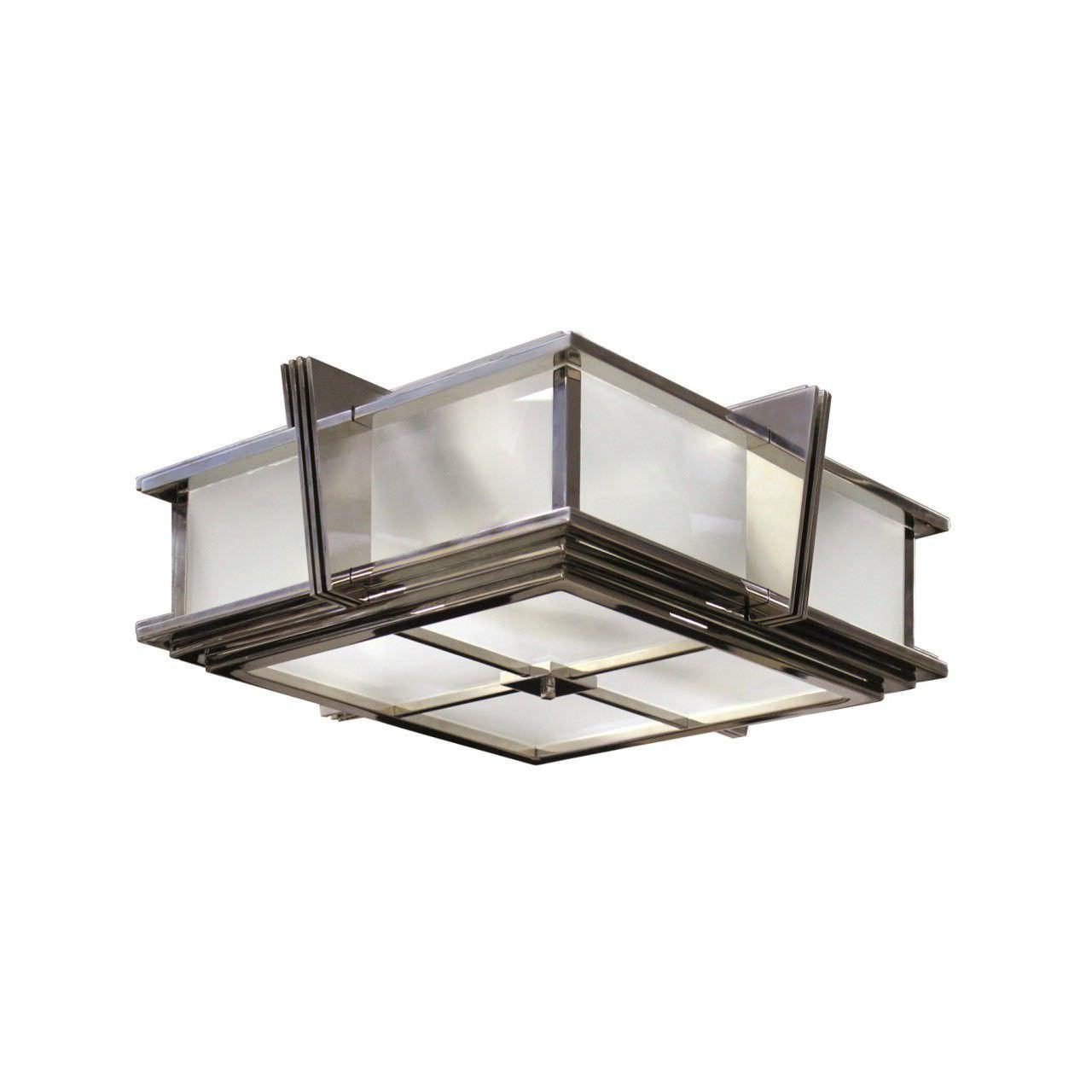 Deckenleuchte Art Deco Quadratisch Glas Messing