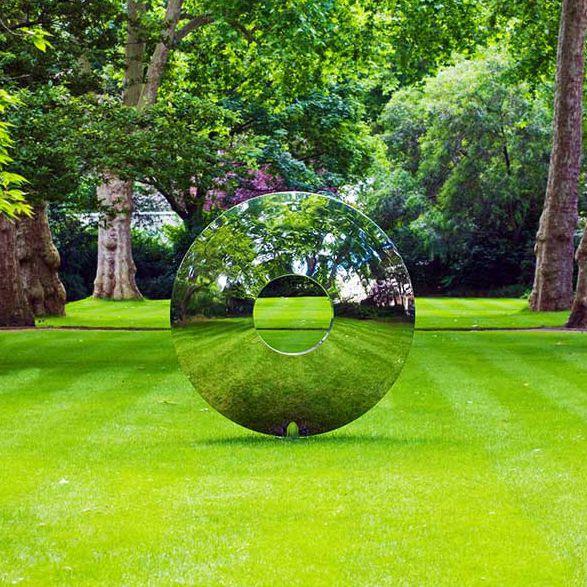 Skulptur / polierter Edelstahl / Garten / für öffentliche Bereiche ...