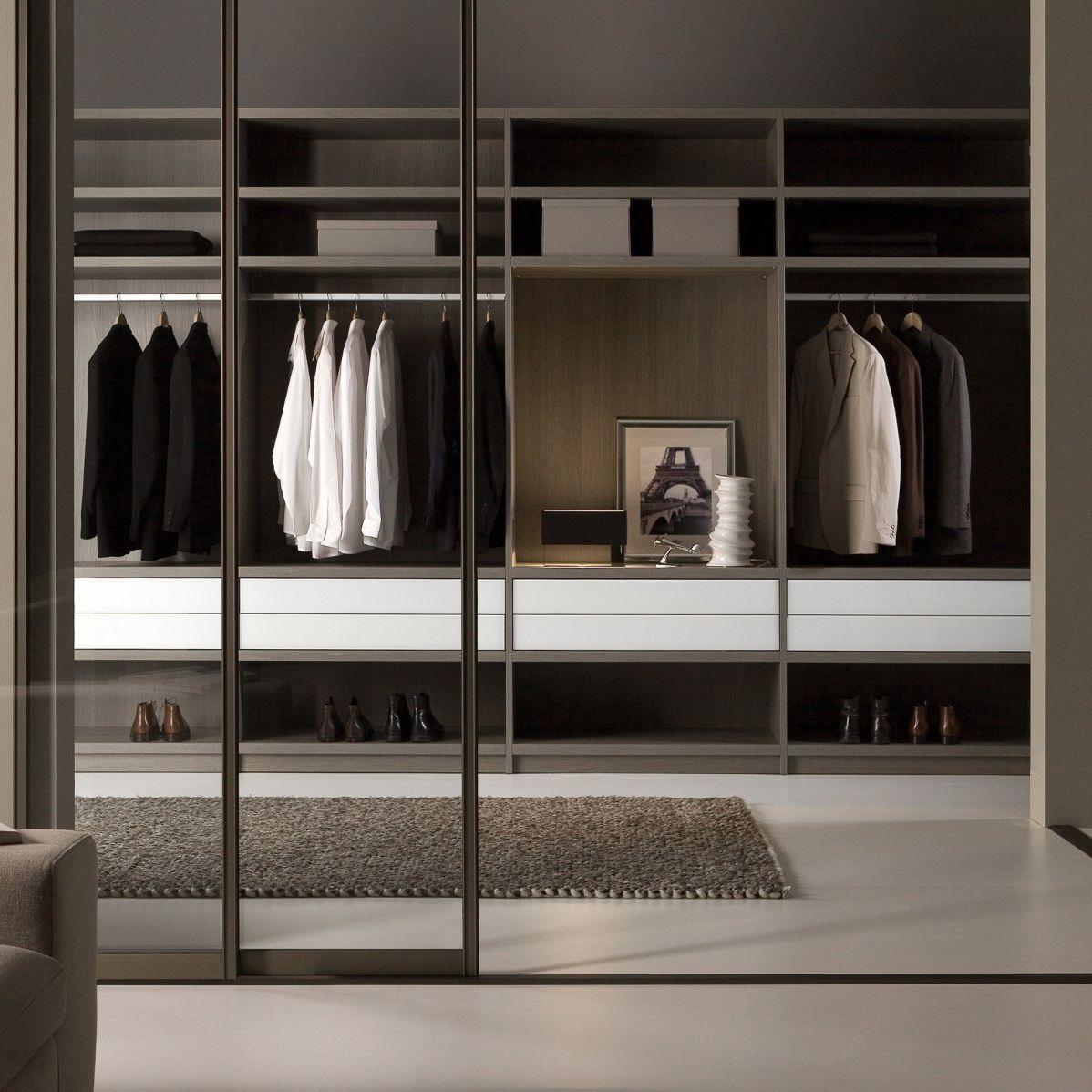 Moderner Begehbarer Kleiderschrank Matrix Noteborn Bv Lackiertes Glas Aluminium Schiebeturen