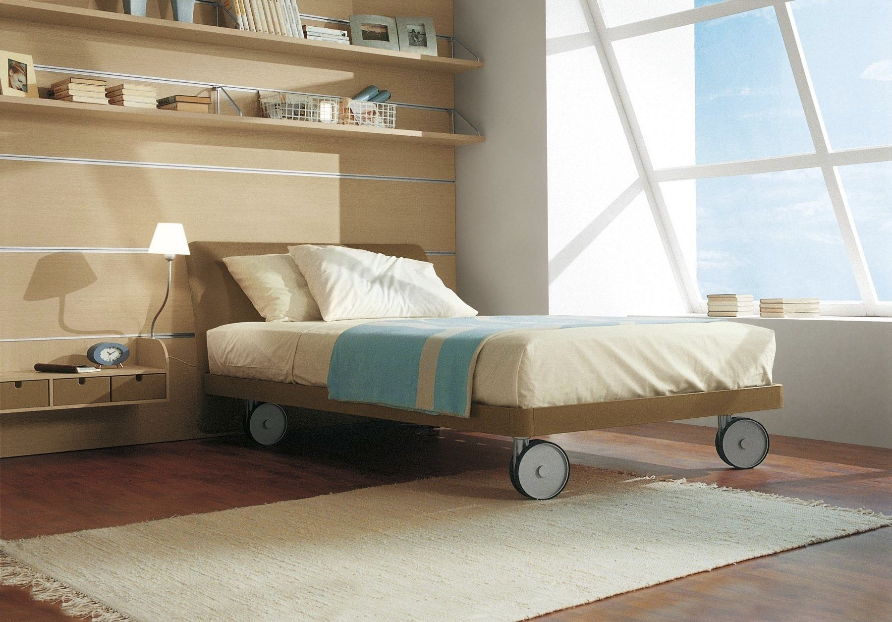 Modernes Bett Für Kinder Unisex Mit Rollen Stoff