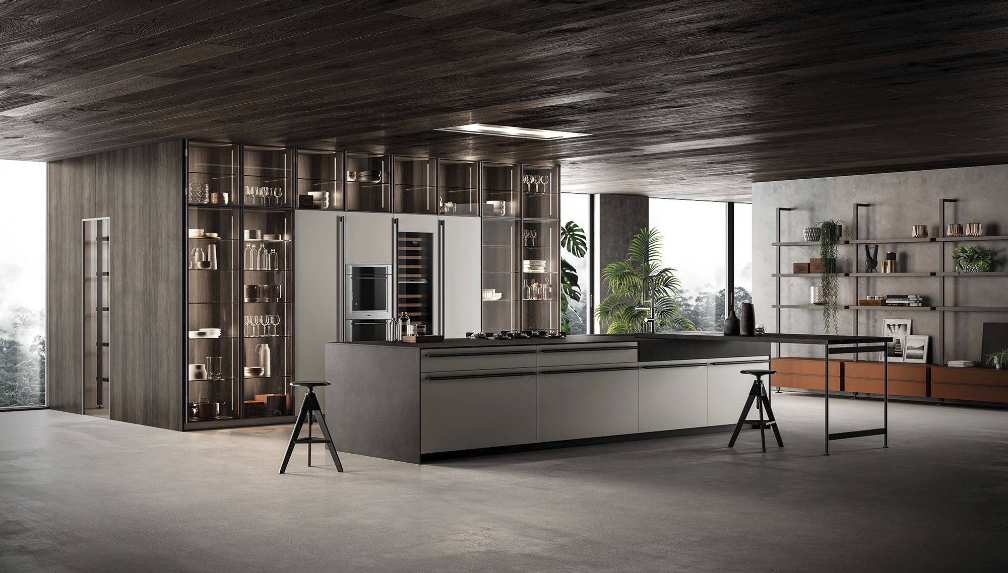 Moderne Küche / Holz / Kochinsel / lackiert - E1 - EFFETI ...