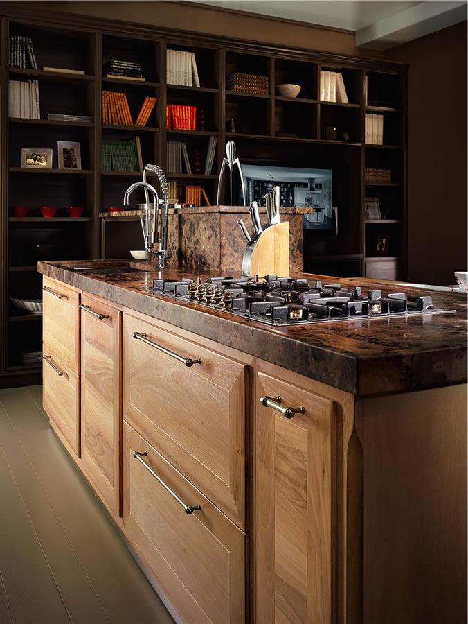 Moderne Küche / Massivholz / aus Nussbaum / Naturstein ...