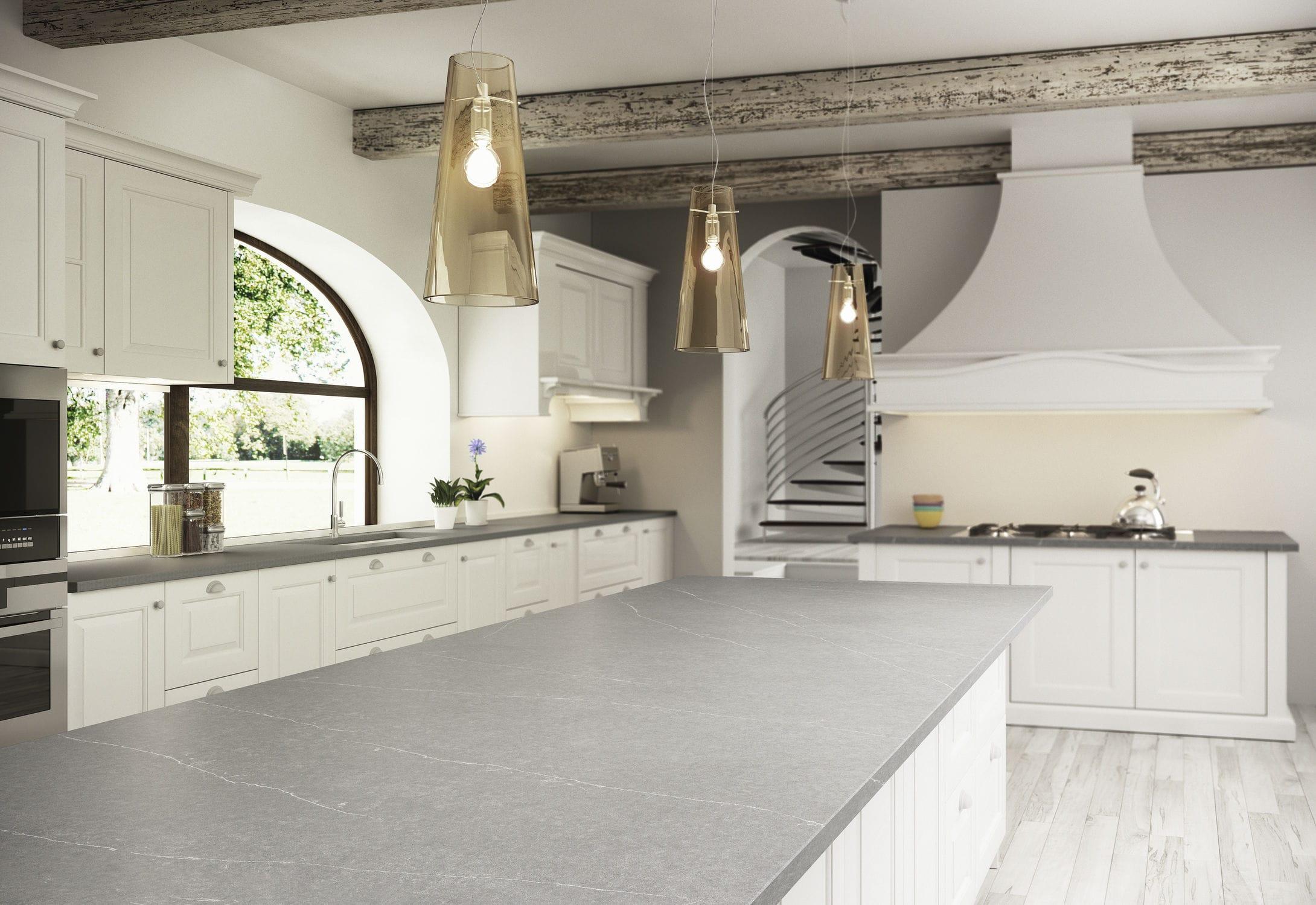 Silestone Arbeitsplatte Küchen Weiß Grau Serena