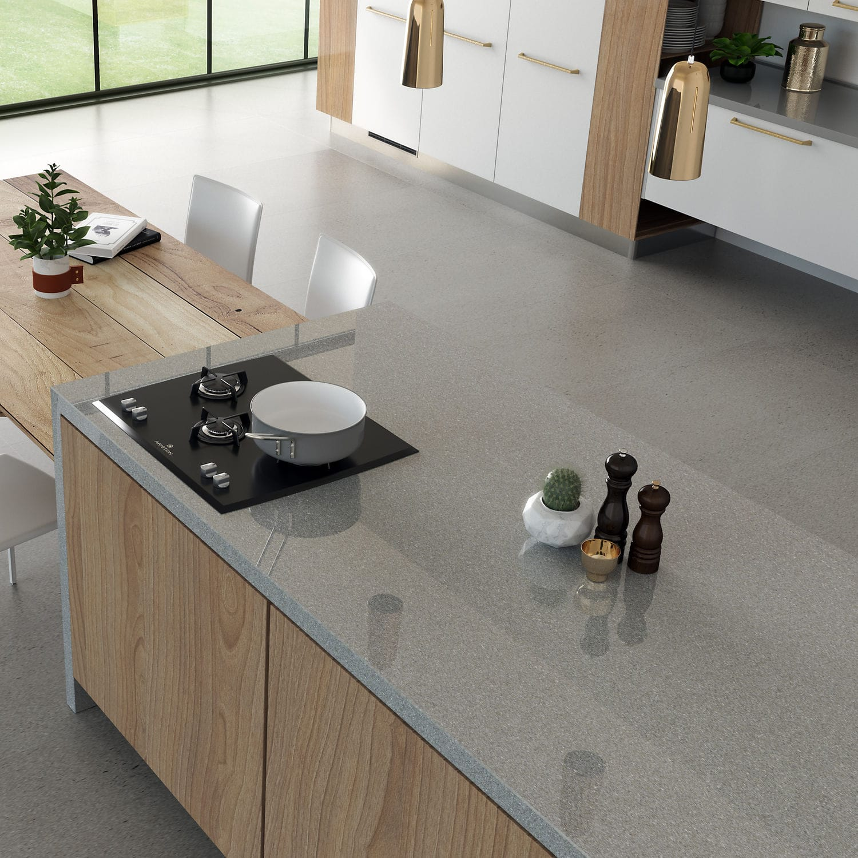 Verbundwerkstoff-Arbeitsplatte / Küchen / grau - MANHATTAN - Cosentino