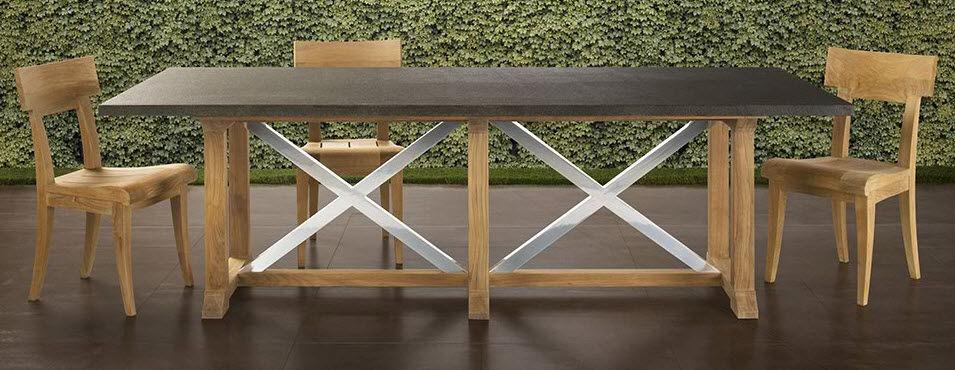 Moderner Tisch / Metall / aus Teakholz / rechteckig - DATCHA ...