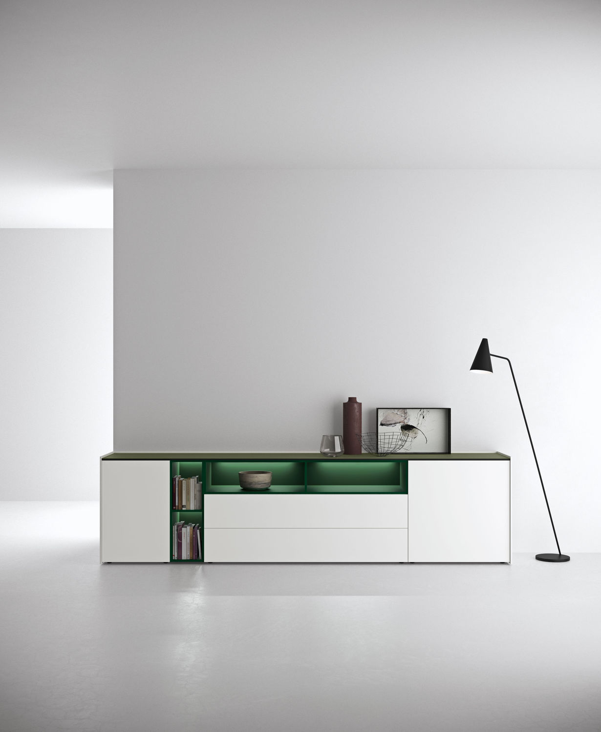 Modernes Sideboard Lackiertes Holz Mit Regal Weiss