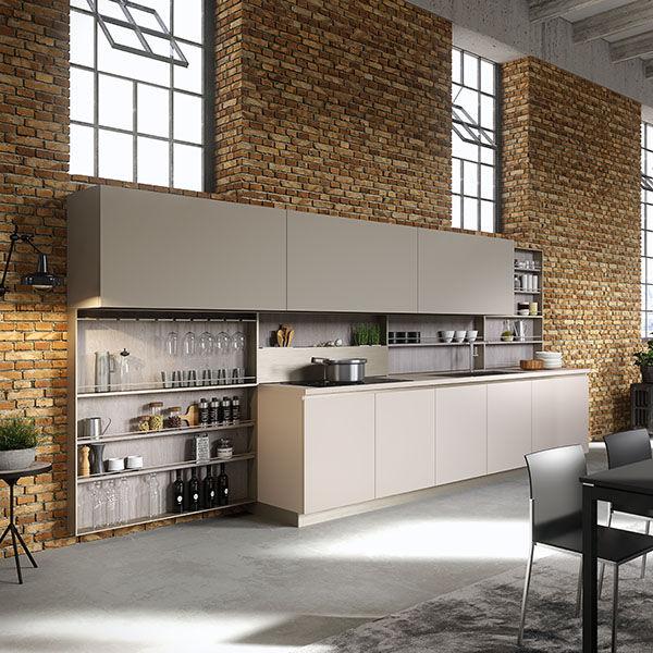 Moderne Küche / Holzfurnier / lackiertes Holz / Kochinsel ...