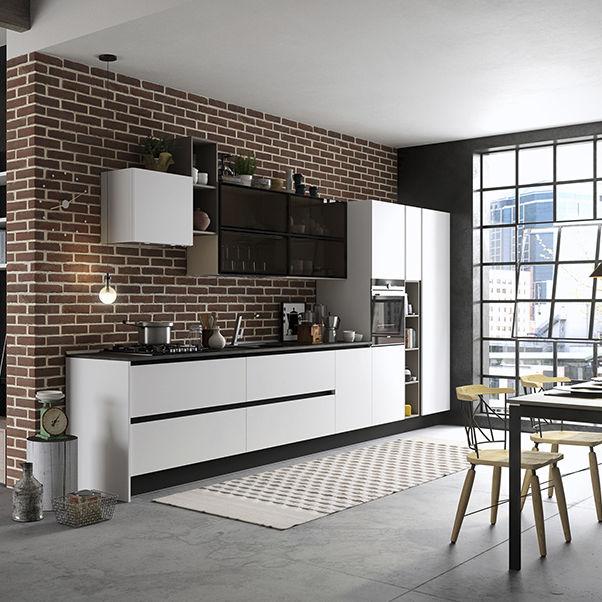 Moderne Küche / aus Esche / Glas / Kochinsel - MIA - ARAN Cucine
