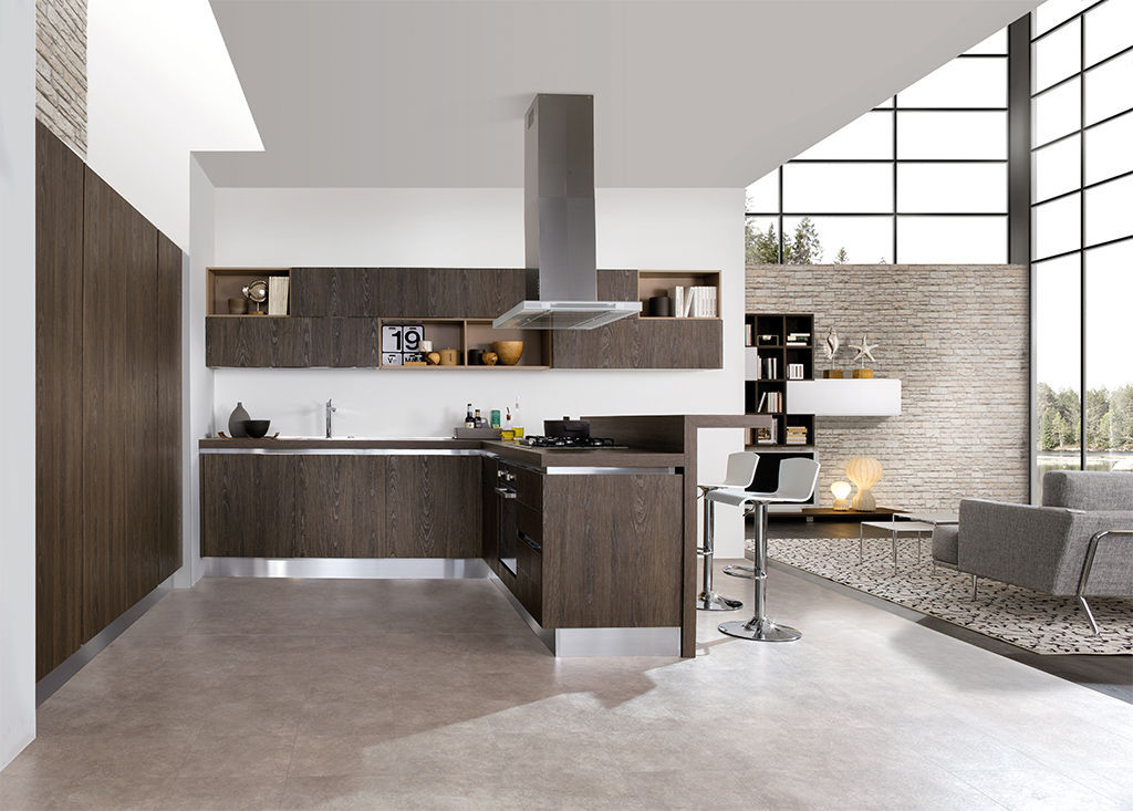 Moderne Küche / Laminat / Holz / Kochinsel - BELLA - ARAN Cucine
