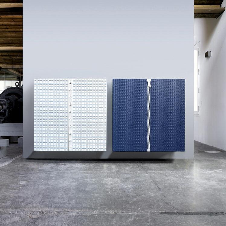 Wandmontiertes Sideboard / modern / lackiertes Holz / weiß ...