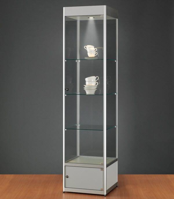 Moderne Vitrine / Glas / Holz / anodisiertes Aluminium - 116 ...