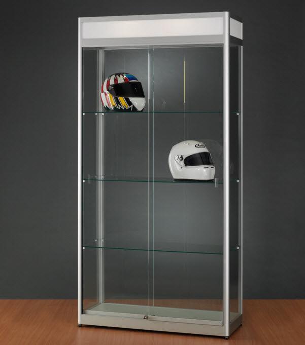 Moderne Vitrine / Glas / Holz / anodisiertes Aluminium - 314 ...