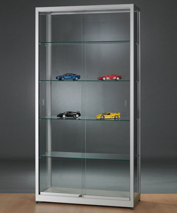 Moderne Vitrine / Glas / Holz / anodisiertes Aluminium - WME ...