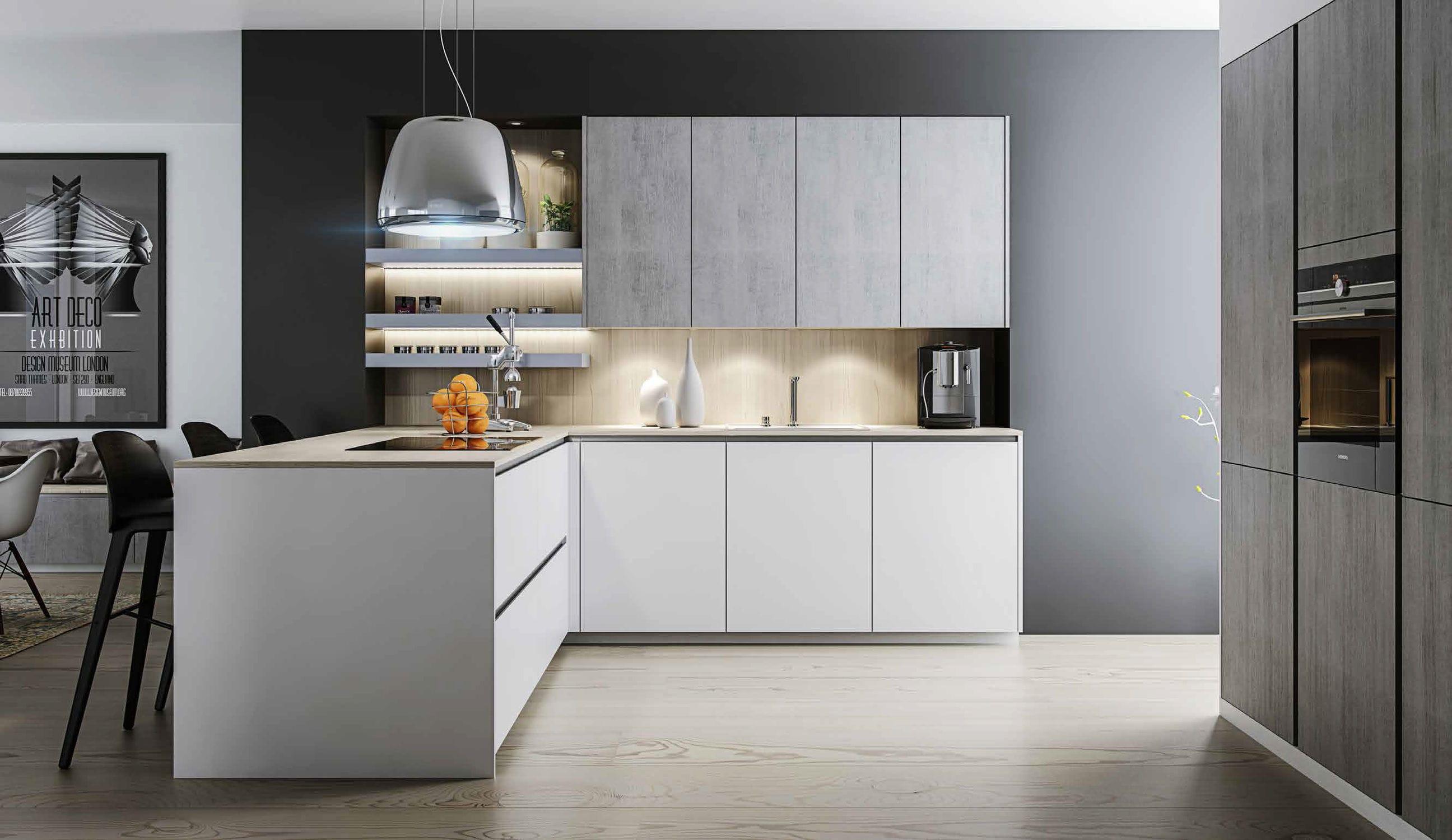 Moderne Küche / Holzfurnier / lackiertes Holz / L-förmig ...