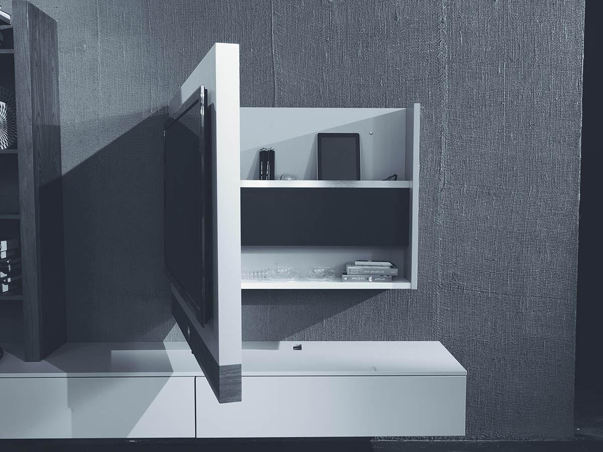Moderne Tv Wandhalterung Schwenkbar Lackiertes Holz Evo