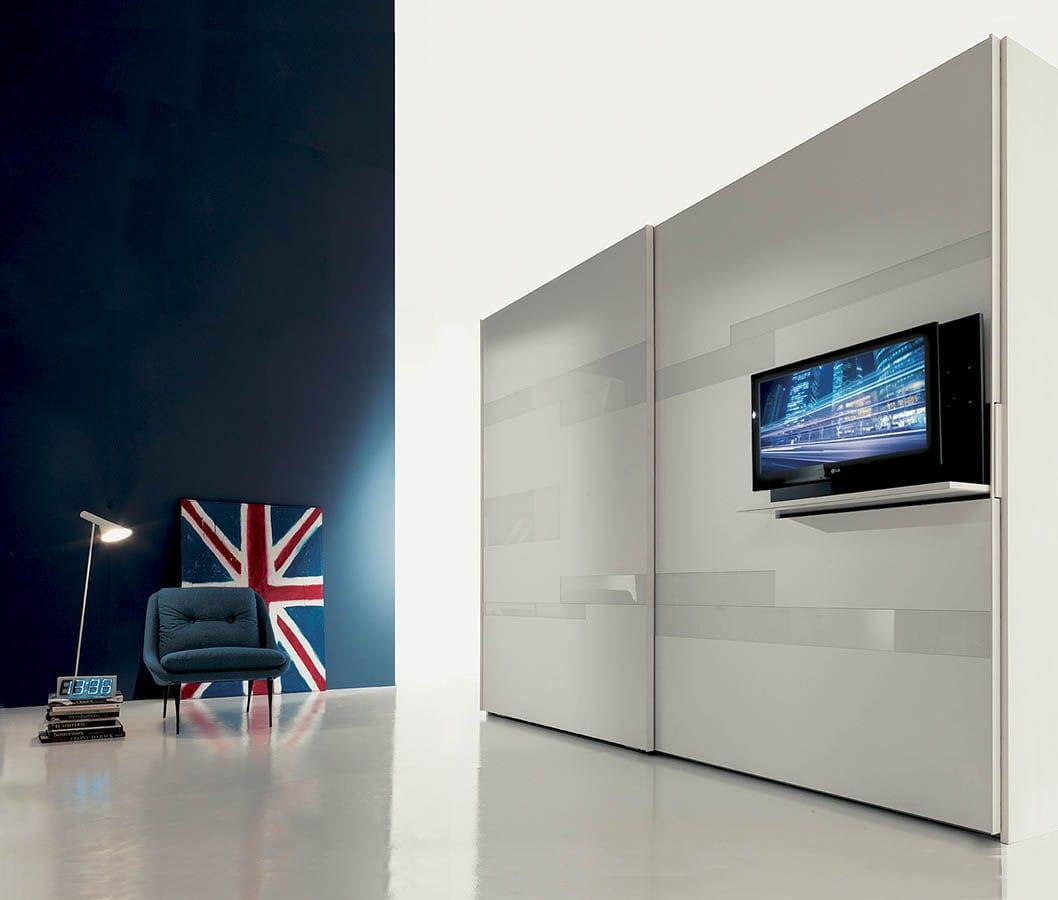 Moderne Tv Wandhalterung Schwenkbar Lackiertes Holz Ghost
