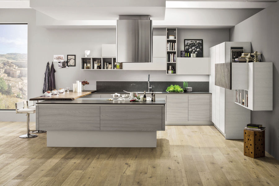 Moderne Kuche Holz Kochinsel Ohne Griff Mango Arrex