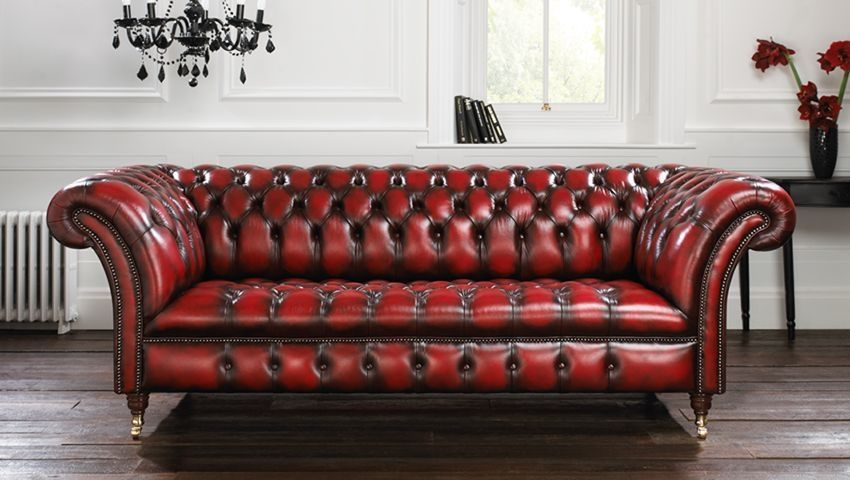 Chesterfield Sofa Leder 3 Platze Rot Blenheim Distinctive