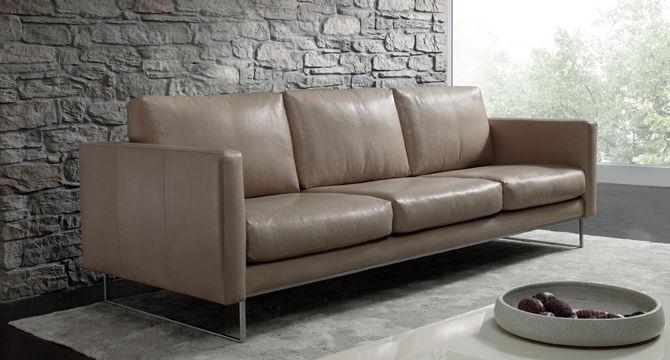 Modernes Sofa - LEGANO - Machalke - Leder / 3 Plätze / braun