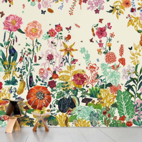 Moderne Tapete / Blumenmuster / bedruckt - JARDIN CRÈME by ...