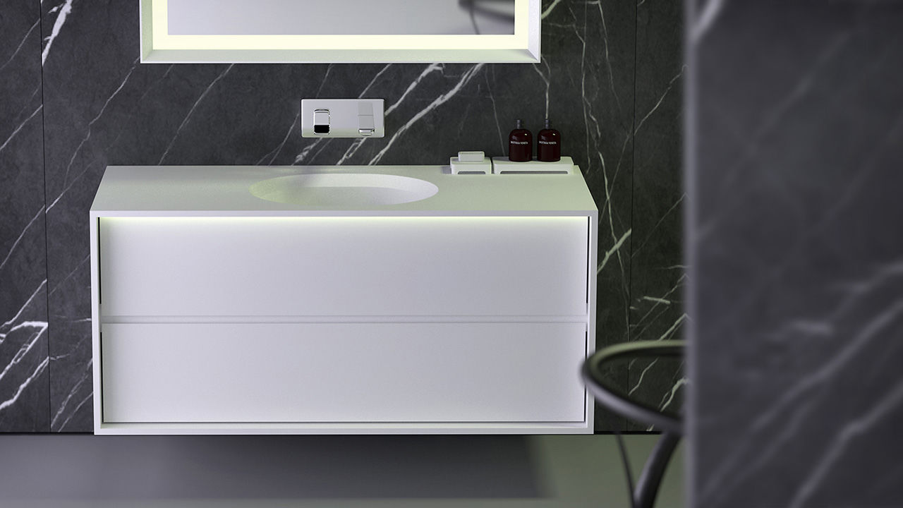 Wandmontierter Waschtisch Unterschrank Mineralwerkstoff Modern