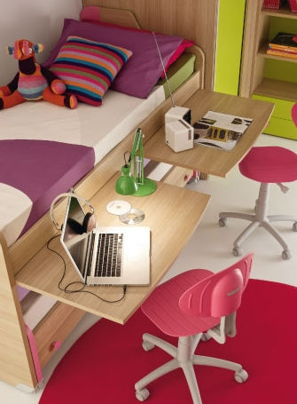 Holz Schreibtisch Modern Mit Ausziehbarem Bett Fur