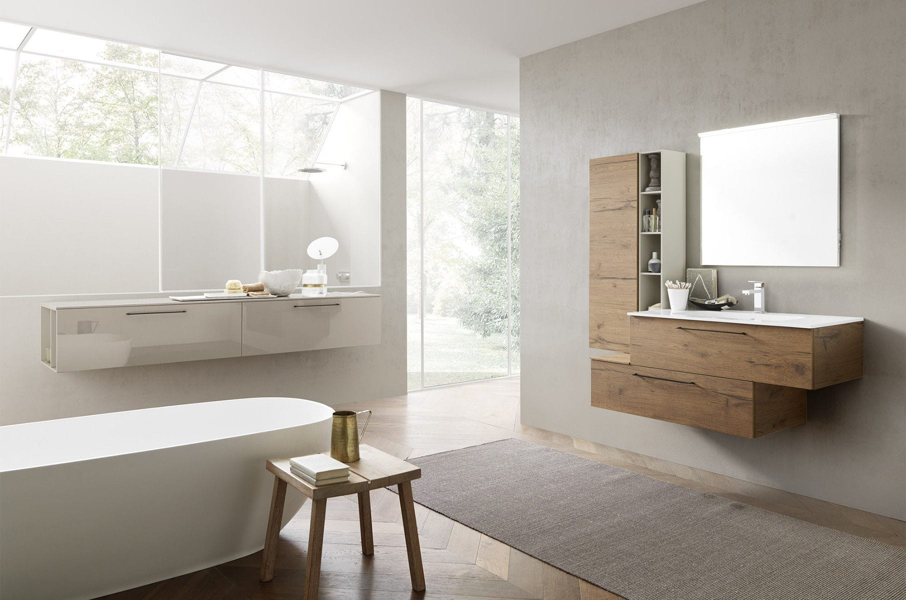 Modernes Badezimmer / Keramik / Holz / Melamin ...