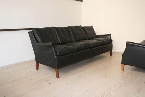 Sofa Skandinavisches Design Leder Aus Mahagoni 3 Plätze