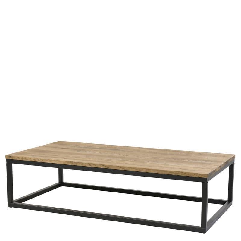 moderner Couchtisch / Holz / aus lackiertem Stahl / rechteckig