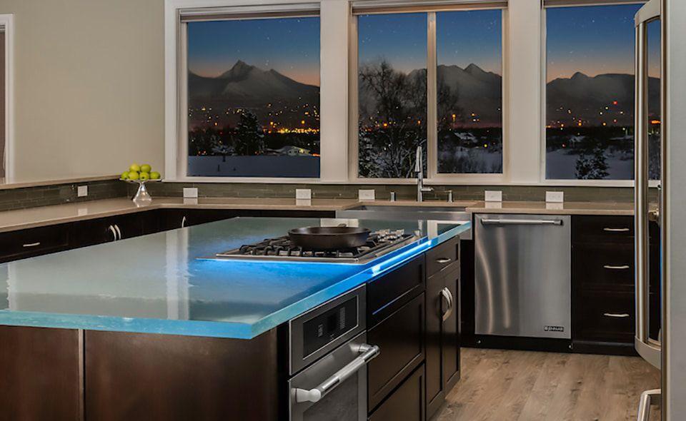 Moderne Küche / Glas / Kochinsel / L-förmig - BROSSA ...