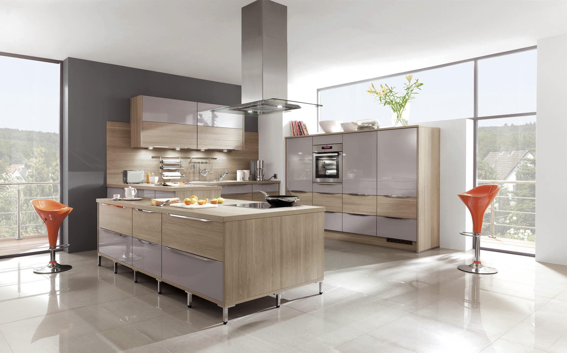 Moderne Küche / Holzfurnier / Kochinsel / mit Griffen ...