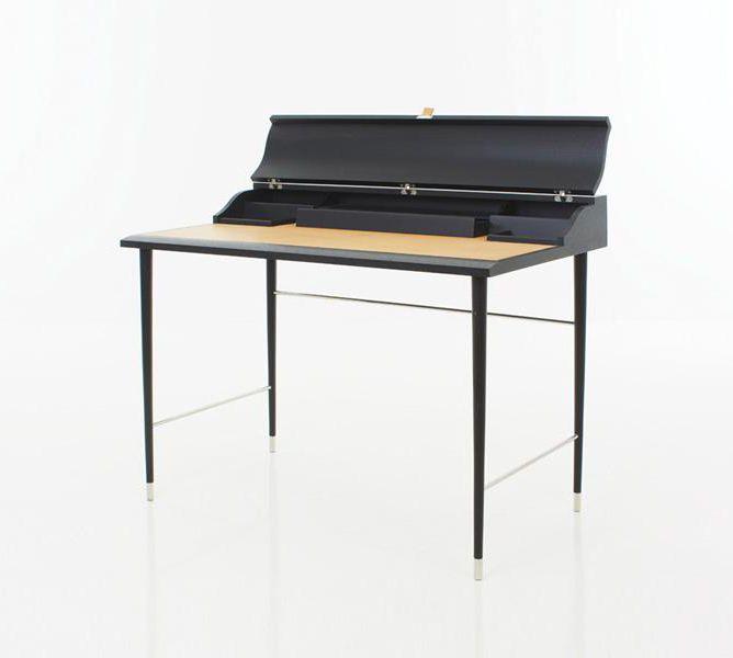 Moderner Sekretär / aus Esche / Leder / Edelstahl - LAVAL by Oeo ...